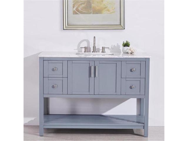 Silkroad Exclusive V10048gwsc 48 In Carrara White Marble Top Single Sink Bathroom Vanity Newegg Com