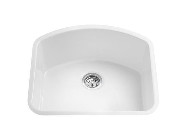 ALFI brand AB2417C 24 Inch White Fireclay Undermount D-Shaped Kitchen Sink