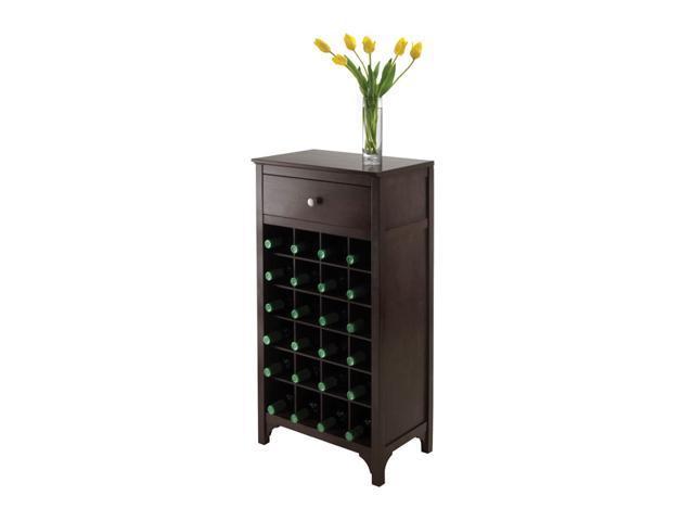 Winsome Ancona Modular Wine Storage Cabinet Holds 24 Bottles Dark