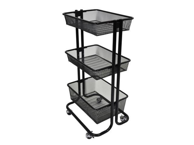 Offex 3 Shelf Home Storage Rolling Kitchen Utility Cart Steel Black
