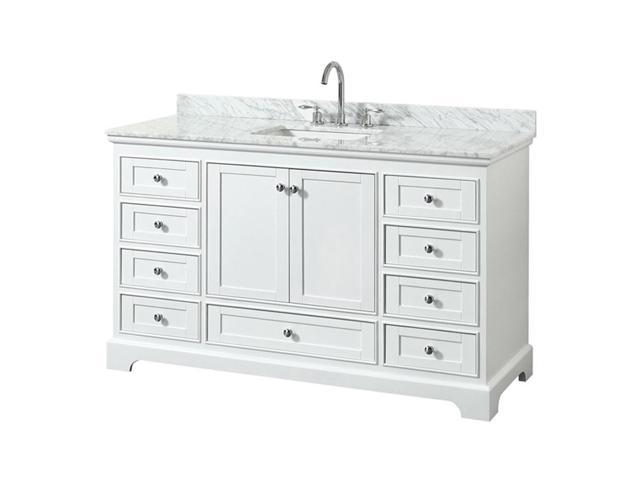 Wyndham Collection Wcs202060swhcmunsmxx 60 In Single Bathroom Vanity White Carrara Marble Countertop Undermount Square Sink No Mirror White