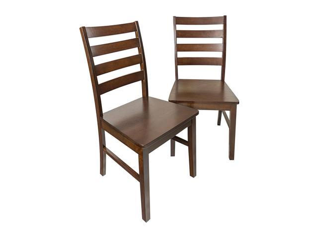 Solid Wood Ladder Back Dining Chair Set of 2 - Walnut  sc 1 st  Newegg.com & Solid Wood Ladder Back Dining Chair Set of 2 - Walnut - Newegg.com