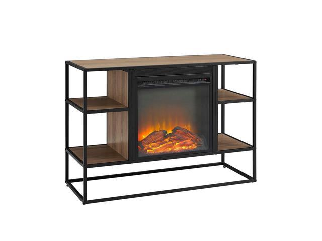 Surprising 40 Metal And Wood Open Shelf Fireplace Console Mocha Newegg Com Home Interior And Landscaping Ologienasavecom