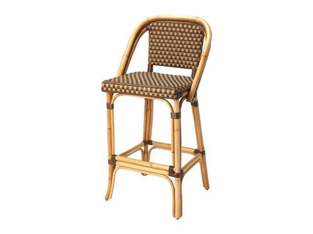 Magnificent Butler Lila Transitional Rattan Rectangular Bar Stool Medium Brown Machost Co Dining Chair Design Ideas Machostcouk