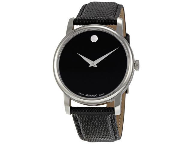 Movado Museum Black Dial Black Leather Strap Men s Watch 2100002 b10b0265f9a