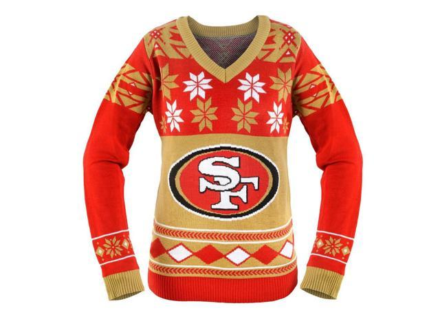 19c460f5475 San Francisco 49ers NFL Women s Big Logo V-Neck Ugly Christmas Sweater Small