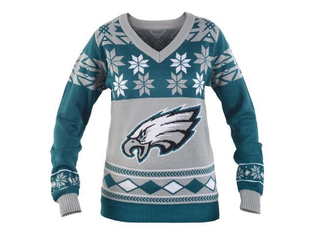 philadelphia eagles nfl womens big logo v neck ugly christmas sweater medium