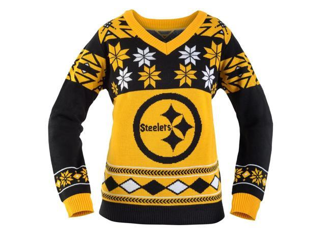 92d239920f1 Pittsburgh Steelers NFL Women s Big Logo V-Neck Ugly Christmas Sweater Small