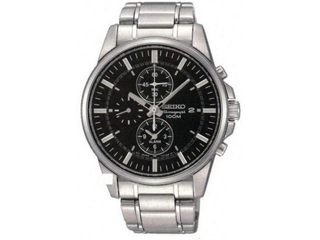 Seiko SNAF03 Stainless Steel Case and Bracelet Chonograph Alarm Black Dial  - Newegg com