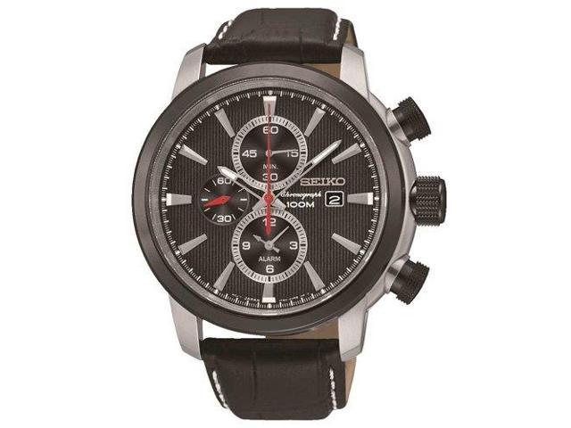 a619fbcbc Seiko Sport Chronograph Black Dial Black Leather Mens Watch SNAF47P2