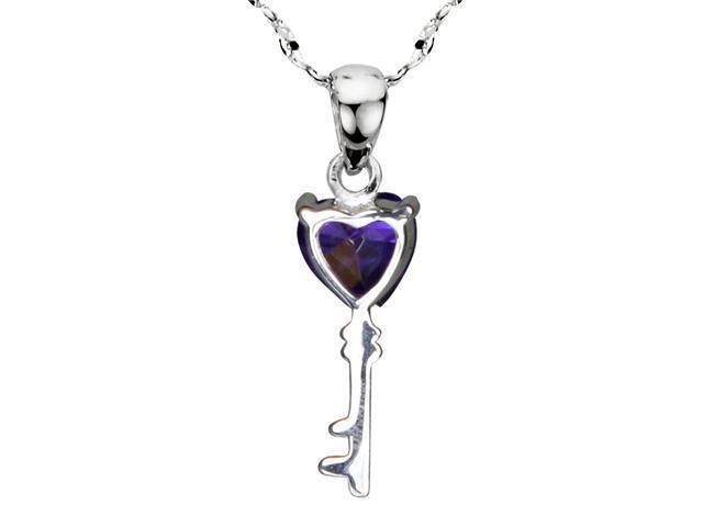Dahlia Purple Cubic Zirconia 3.6ct Heart Key Silver Pendant Necklace