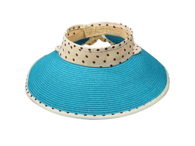9be5a76529ff9 Straw Polka Dot Ribbon Rollable Wide Brim Sun Hat Visor - Turquoise Blue