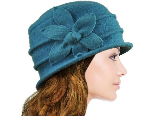 19949a5a4f3 Dahlia Women s Daisy Flower Wool Cloche Bucket Hat - Teal Blue ...