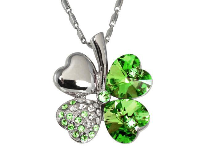 18k Gold Plated Swarovski Crystal Heart Shaped Four Leaf Clover Pendant  Necklace (Peridot Green) 208257 9937GR - Newegg com