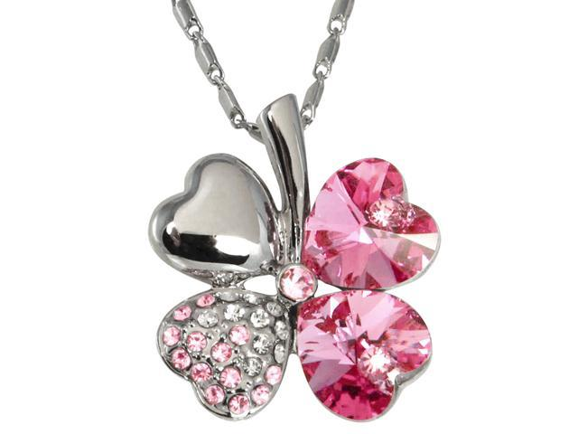 b82eee1c7537bc 18k Gold Plated Swarovski Crystal Heart Shaped Four Leaf Clover Pendant  Necklace (Pink Sapphire)