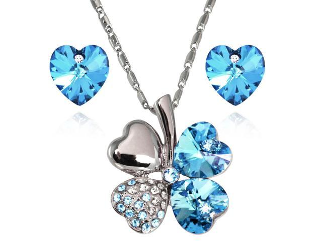 70f18a7e48ef34 Lucky Love Heart Shaped Swarovski Elements Crystal Four Leaf Clover Rhodium  Plated Pendant Necklace and Earrings