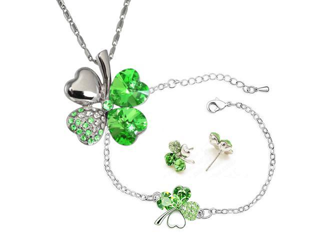 Four Leaf Clover Heart Shaped Swarovski Elements Crystal Rhodium Plated Pendant Necklace Earrings And Bracelet Set Peridot Green Newegg
