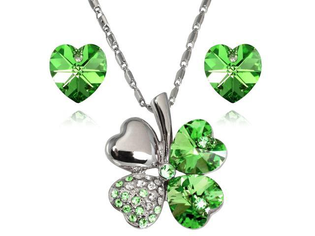 628d989c62789 Lucky Love Heart Shaped Swarovski Elements Crystal Four Leaf Clover Rhodium  Plated Pendant Necklace and Earrings Set - Peridot Green - Newegg.com