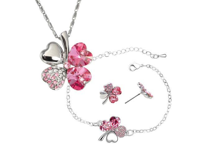 ea06cca2d5742 Four Leaf Clover Heart Shaped Swarovski Elements Crystal Rhodium Plated  Pendant Necklace, Earrings and Bracelet Set - Pink Sapphire - Newegg.com