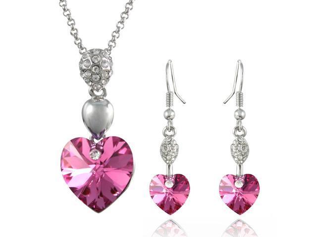 Sparkling Heart 18kgp Swarovski Crystal Necklace Earrings Set Pink Shire