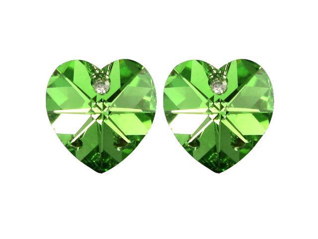 5a797e606645b Crystal Heart Swarovski Elements Heart Shaped Crystal Rhodium Plated Stud  Earrings - Peridot Green - Newegg.com