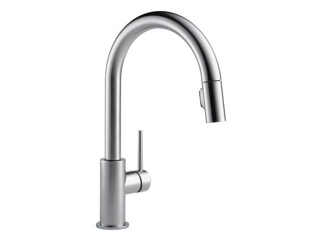 Delta Single Handle Trinsic Kitchen Sink Faucet, Arctic Stainless |  9159-AR-DST