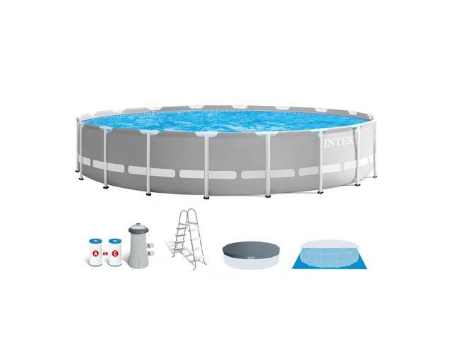 Intex 18ft x 48in Prism Frame Above Ground Swimming Pool Set with Pump -  Newegg.com