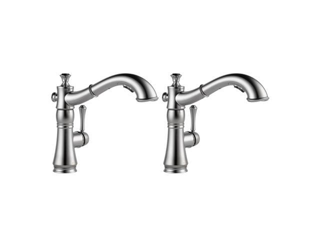 Delta Faucets Cassidy Single Handle Pull Out Kitchen Faucet Stainless 2 Pack Newegg Com