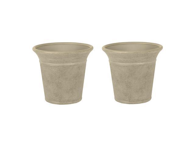 194 & Suncast Langston 16 Inch Decorative Round Flower Pot Planters Vanilla (2 Pack) - Newegg.com