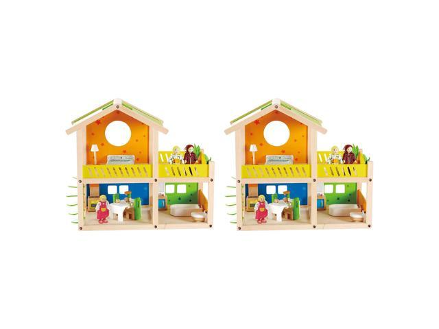 Hape Happy Villa Wooden Kids Toy House Dollhouse W Dolls And Furniture 2 Pack Neweggcom