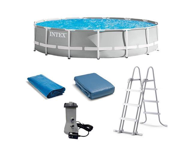 Intex 15 Foot x 42 Inch Prism Frame Above Ground Swimming Pool Set with  Filter - Newegg.com