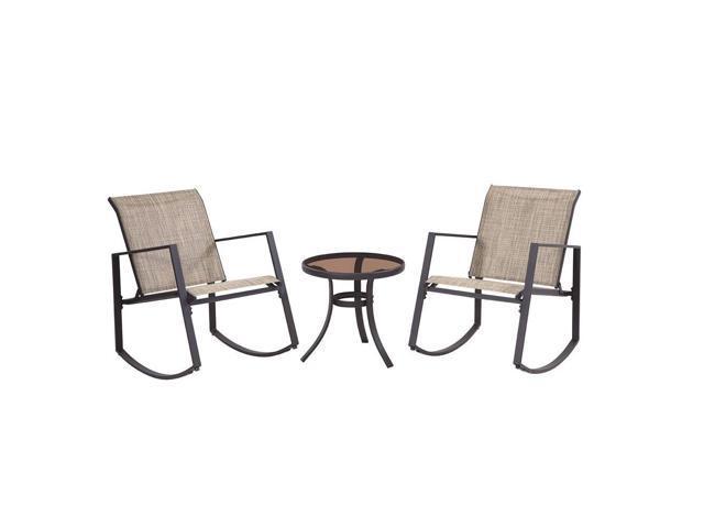 Marvelous Liberty Garden Aurora 3 Piece Rocking Chair Bistro Set With Polyester Sling Tan Ibusinesslaw Wood Chair Design Ideas Ibusinesslaworg