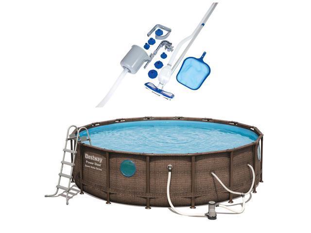 Bestway 16 Foot Power Steel Vista Swimming Pool Set w/ Vacuum ...