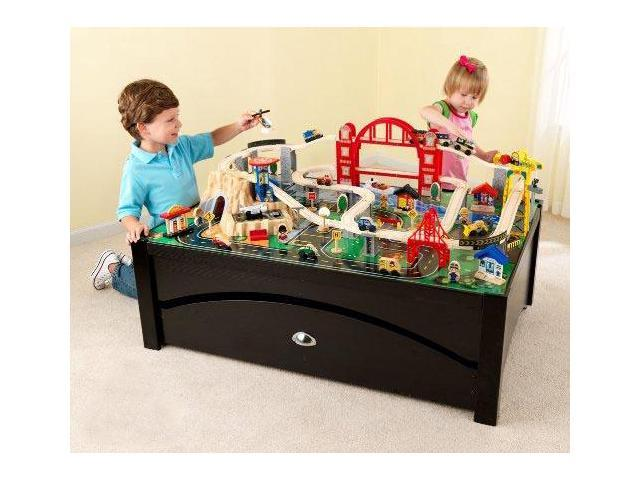 Kidkraft Metropolis 100 Piece Wood Train Table Set W Storage