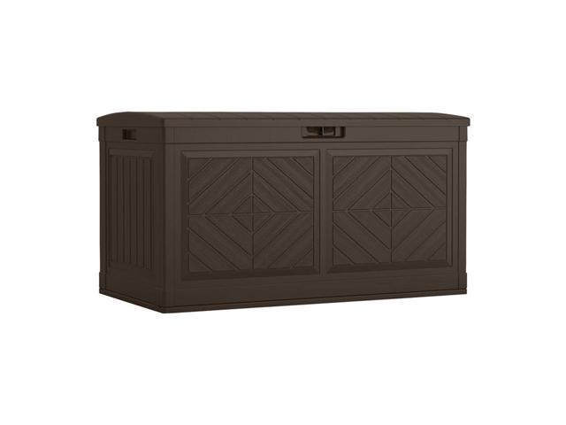 Suncast Bmdb80j Baywood 80 Gallon Outdoor Resin Patio Storage Deck Box Java
