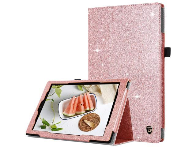 DUEDUE Case for Amazon Fire HD 10 Tablet (7th/5th Generation, 2017/2015  Release), 2 Fold Glitter PU Leather Folio Stand Smart Cover with Stylus
