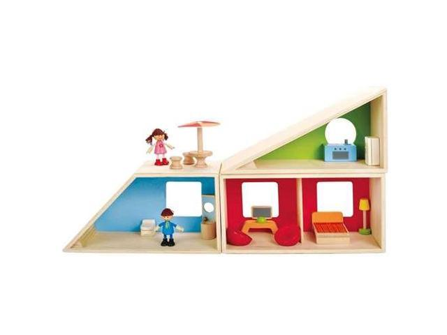 Hape Geometric Kids Toy House Wooden Dollhouse W Dolls And Furniture Neweggcom