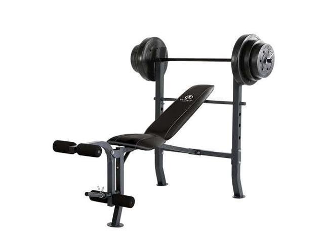 Marcy Standard Bench w/ 100 lb Weight Set Home Gym Workout Equipment -  Newegg com