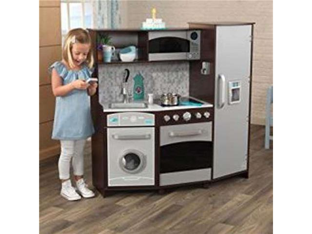 KidKraft Play Kitchen w/ Realistic Lights and Sounds, Espresso/Silver -  Newegg.com