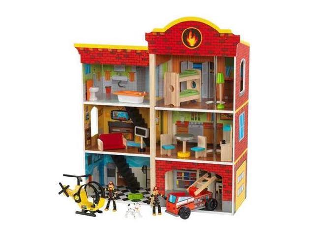 Kidkraft Wooden Fire Station Set Toy W 14 Accessory Pieces Neweggcom