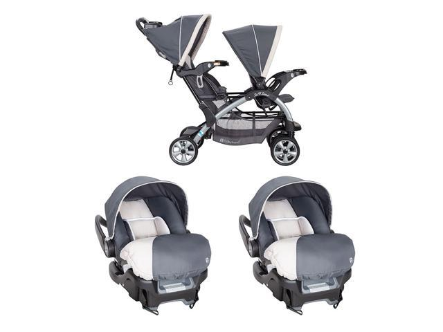 Baby Trend 5 Point Harness Double Stroller 35 Lb Infant Car Seat W Car Base Newegg Com