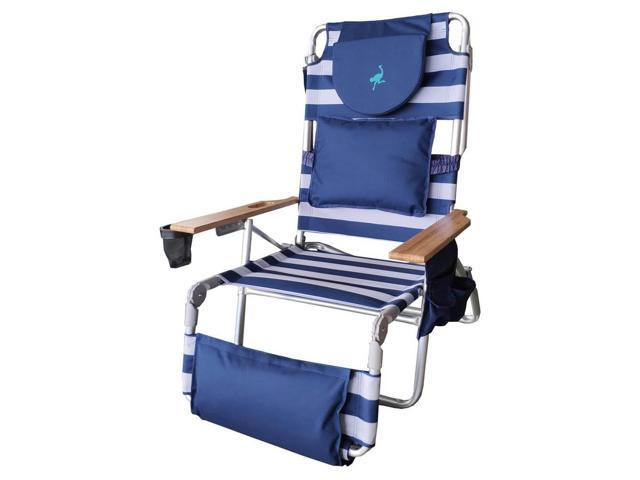 Awesome Ostrich Deluxe Padded 3 N 1 Outdoor Lounge Reclining Beach Chair Striped Blue Newegg Com Gamerscity Chair Design For Home Gamerscityorg