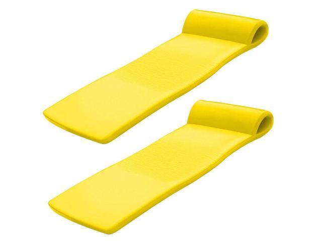 Yellow TRC Recreation Serenity 70 Inch Thick Foam Mat Raft Lounger Pool Float
