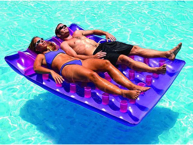 Double Inflatable Design in Blue//Yellow x 56 in Pool Float Mattress 78 in