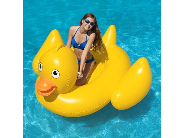 Swimline Inflatable Giant Lucky Rubber Ducky Ride On Swimming Pool or Lake  Float