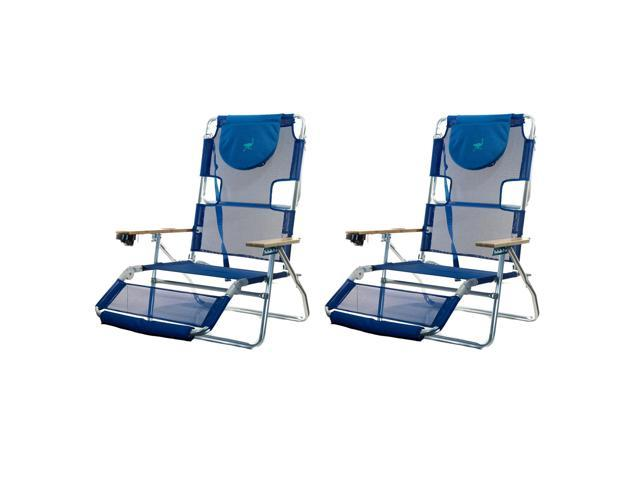 Ostrich 3N1 Lightweight Aluminum Frame 5 Position Reclining Beach Chair (2 Pack)