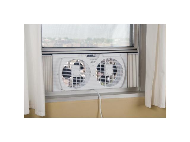 "White Comfort Zone CZ319WT 9/"" Twin Window Fan with Reversible Airflow Control"