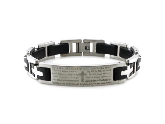 8.5 Men/'s Bracelet Father/'s DAY Gift Black Plated Biker Link ID Bracelet Personalized Custom Engrave Bracelet Lord/'s Prayer Inscription