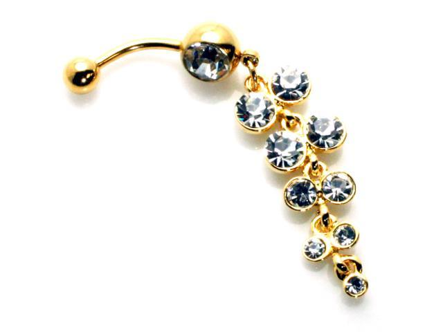 14g 1 6mm Gold Plated Floral Cz Stainless Steel Dangle Belly Ring Navel Piercing 14 Gauge Newegg Com