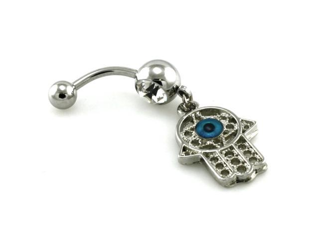 14g 1 6mm Evil Eye Cz Dangle Belly Ring Newegg Com
